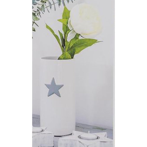 WHITE VASE WITH GREY STAR