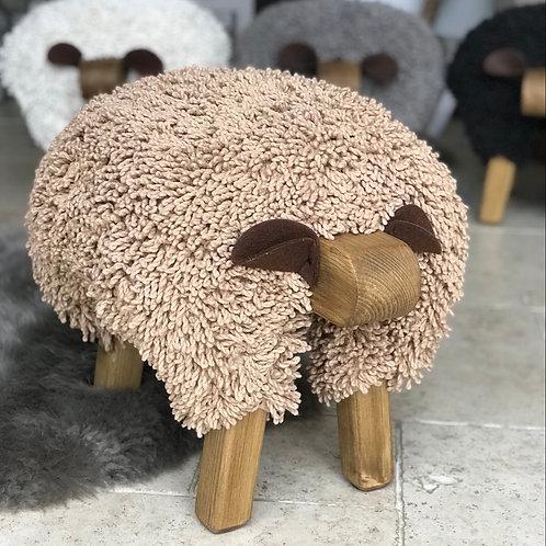 COFFEE HANDMADE SHEEP FOOTSTOOL