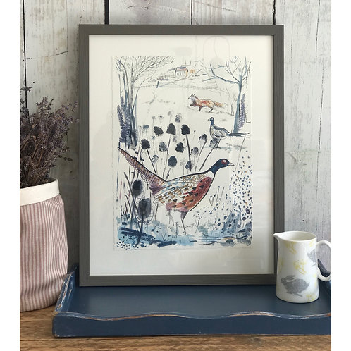 SAM WILSON THE PHEASANT AND THE FOX FRAMED PRINT