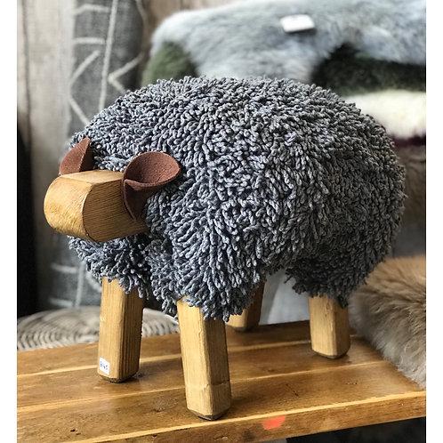 DARK GREY HANDMADE SHEEP FOOTSTOOL
