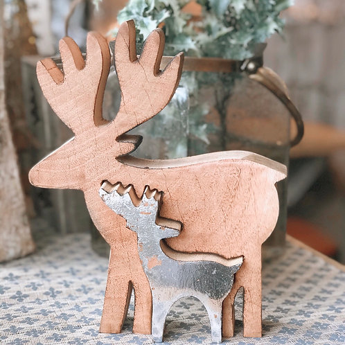 DOUBLE WOODEN AND SILVER REINDEER (2 sizes)