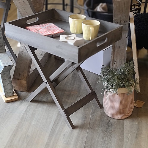 GREY WOODEN TRAY TABLE