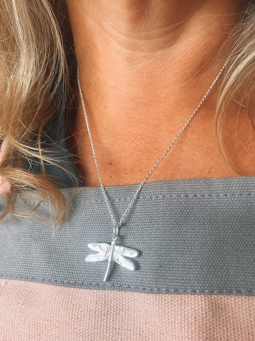 SILVER DRAGONFLY WITH DIAMONDS NECKLACE