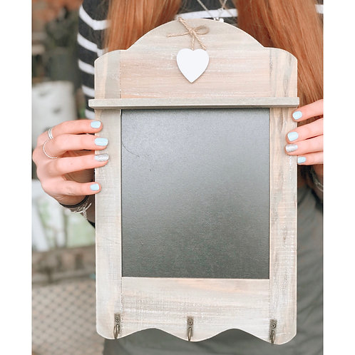 RUSTIC HANGING HEART CHALK BOARD WITH HOOKS