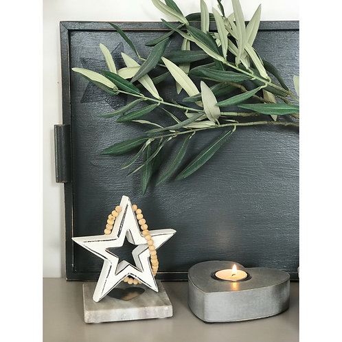 HANGING CHUNKY WOODEN STAR WITH BEADS