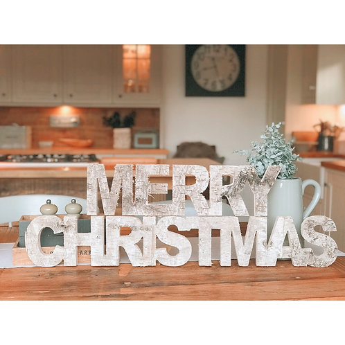 MERRY CHRISTMAS WOODEN LETTER SIGN