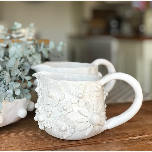 HANDMADE CHUNKY CHINA FLOWER JUG