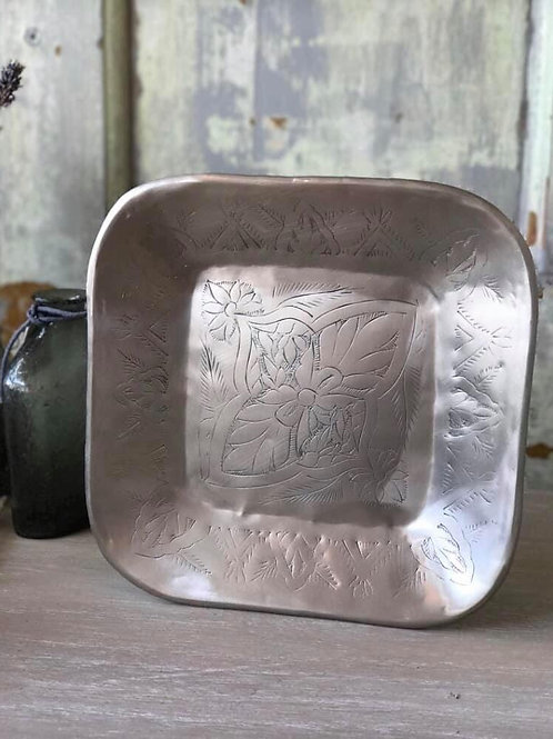 SILVER PLATED INDIAN SQUARE PLATE
