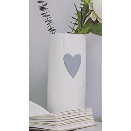 WHITE VASE WITH GREY HEART