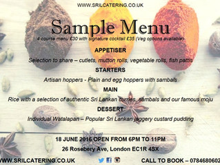 Pop up restaurant with hoppers 18 June!