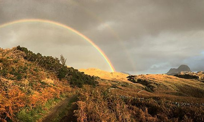 Rainbow along the Cape Wrath Trail in the Highlands of Scotland