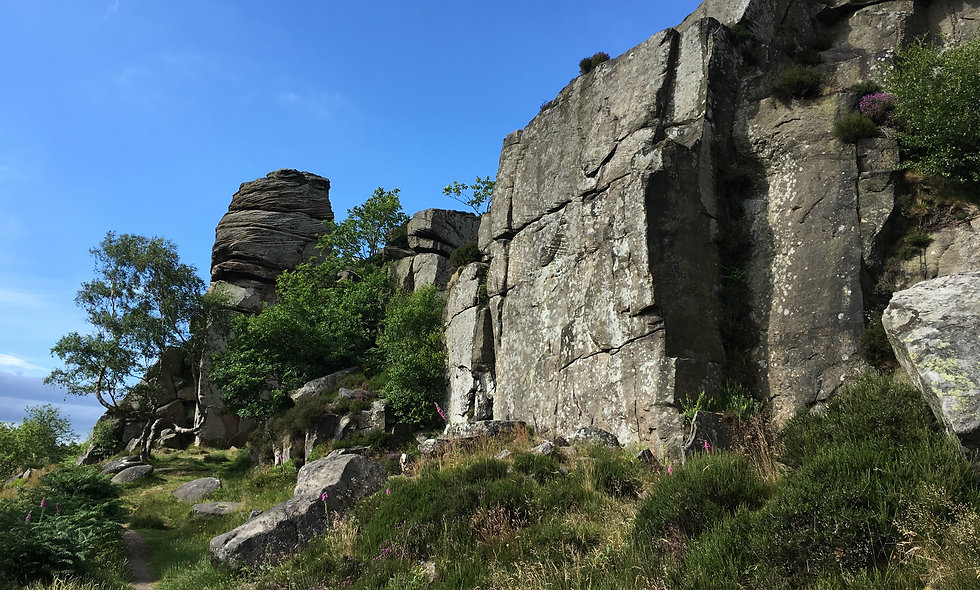 Climbers from London rock climbing in the Peak District
