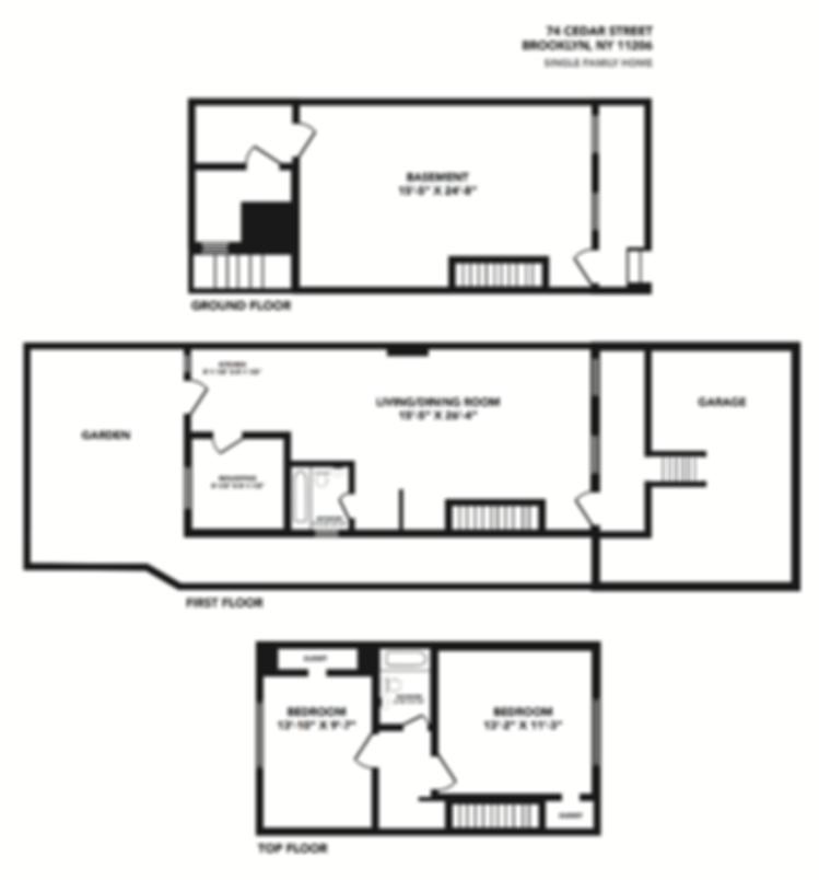 Brooklyn brownstone floor plan design by Patricia Maldonado for Corcoran