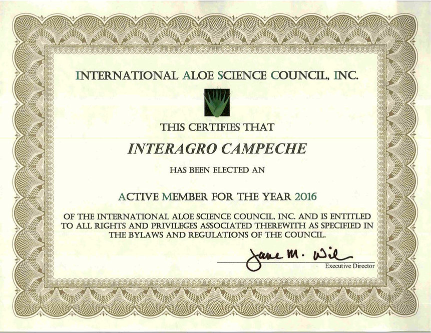 Certificate of Membership of the International Aloe Science Council, Inc.