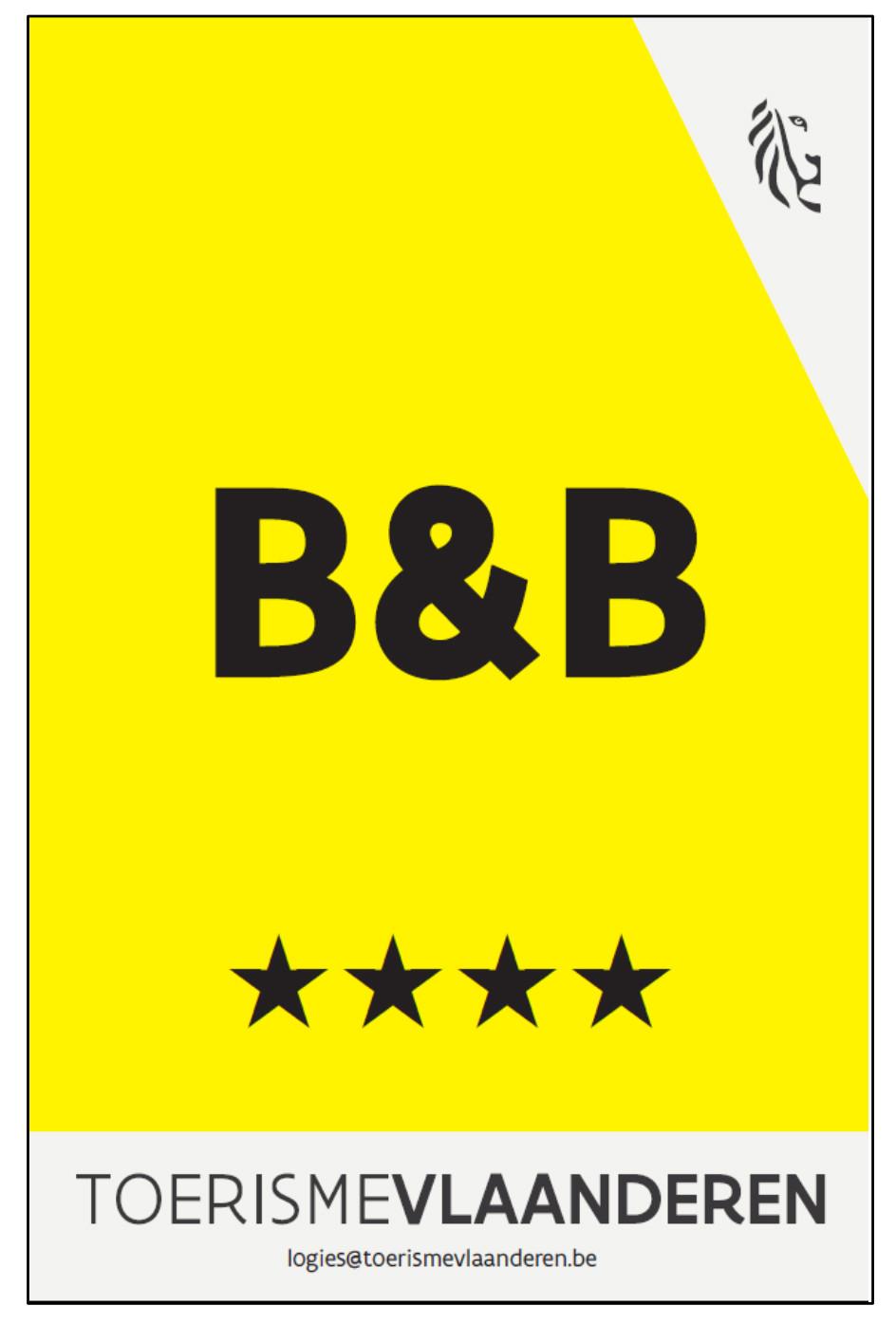 B&B logo 4 sterren Toerisme Vlaanderen