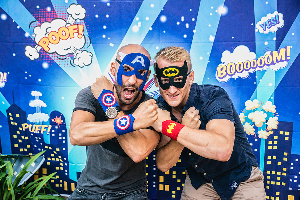 Superhero masks at the party in Arts hotel by Event Barcelona team
