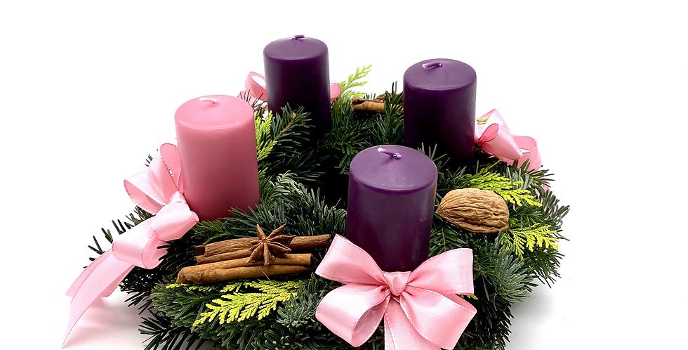 Adventkranz lila-rosa, 25 cm