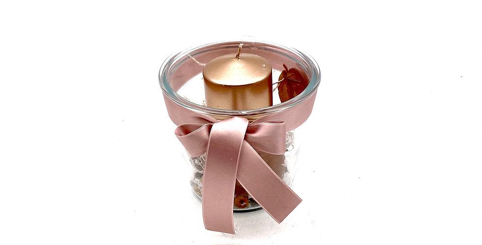 Kerzenschale Glas rosa