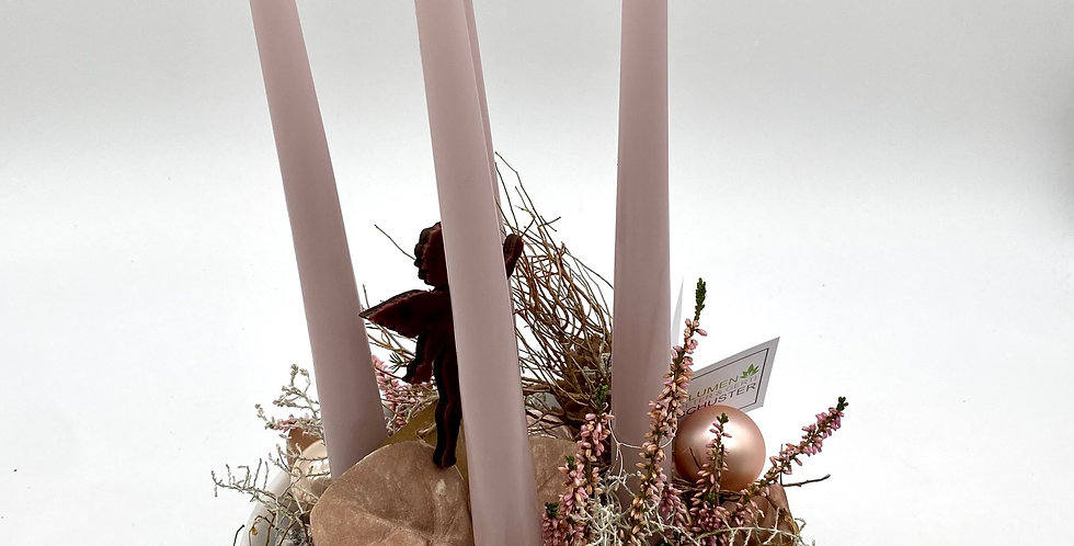 Kerzenschale weiß-altrosa