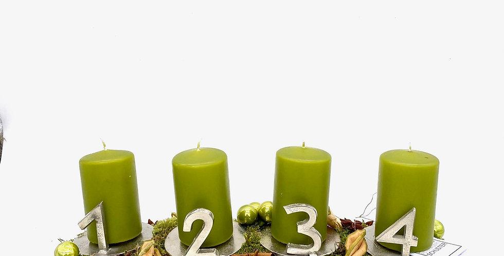 Adventschale grün-silber