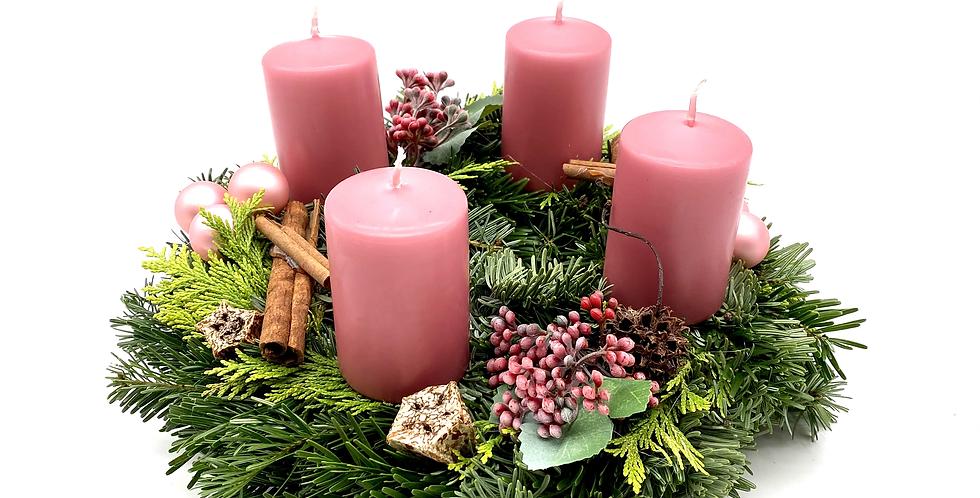 Adventkranz rosa, 25 cm