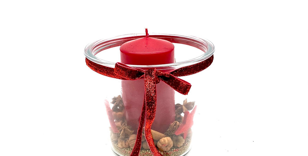 Kerzenschale aus Glas, rot