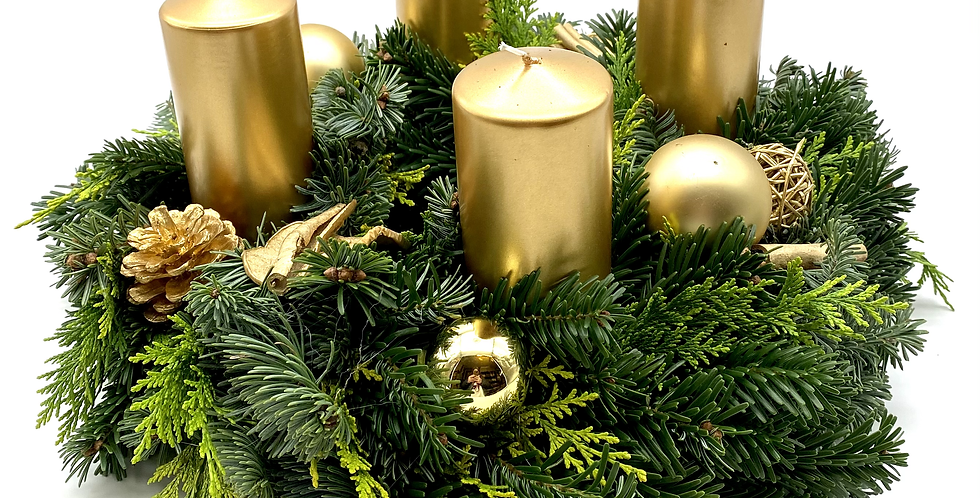Adventkranz gold, 35 cm