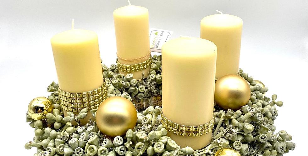 Wachs-Adventkranz grün-weiß-gold