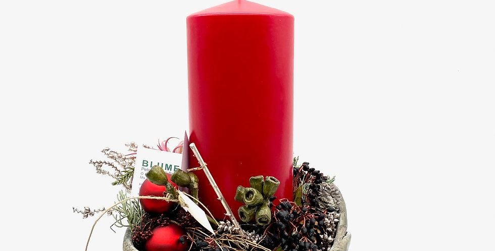 Kerzenschale Betonoptik, rot