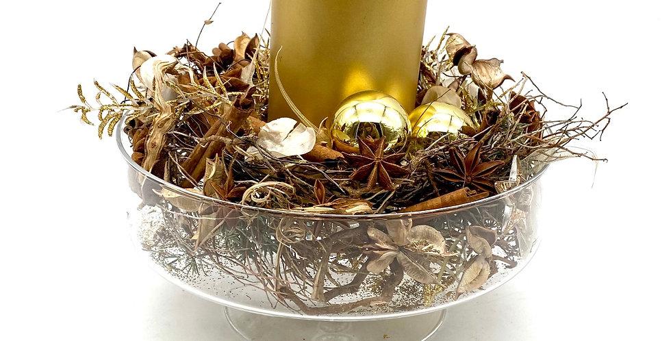 Glaskerzenschale gold
