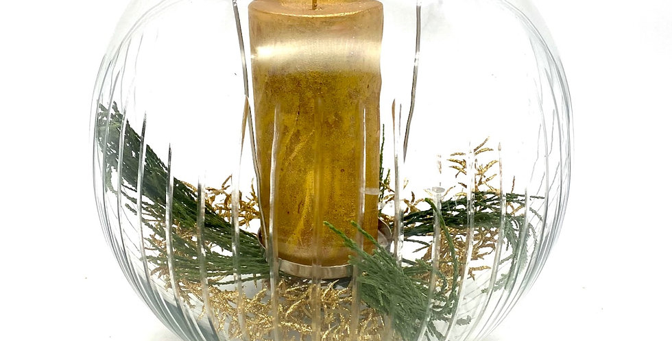Glasschale mit Kerze, gold