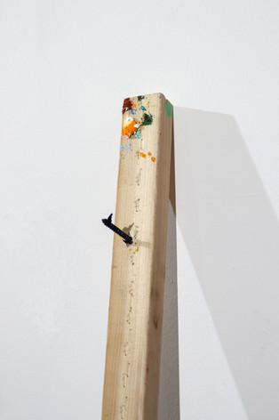 "Mike Marrella. Untitled (detail). Oil on stretcher bar with screw. 3 x 1 ¼ x 48"". 2019."
