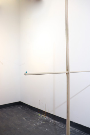 """Mike Marrella. Untitled (detail). Oil (¼ x ¼ x ¼"""") on dowel with plywood leg. 2019."""