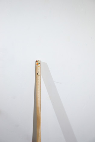 """Mike Marrella. Untitled (detail). Oil on stretcher bar with screw. 3 x 1 ¼ x 48"""". 2019."""