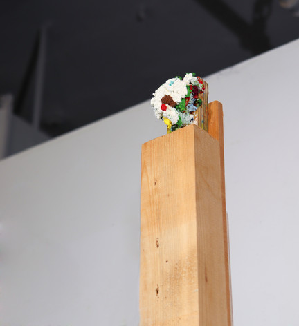 "Mike Marrella. Untitled (detail). Oil on poplar on found wood. 2 x 3 x 72"". 2019."