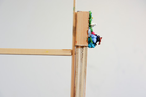 """Mike Marrella. Untitled (detail). Oil on 1 ½ x 3"""" poplar with found wood. 2019."""