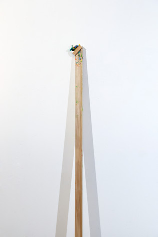 "Mike Marrella. Untitled. Oil on poplar on stretcher bar. 1 ¼ x 3 x 48"". 2019."