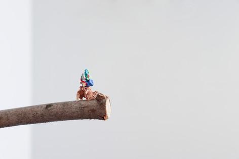 "Mike Marrella. Untitled (detail). Oil (¼ x ¼ x ¾"") on 18"" found stick. 2019."