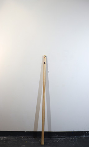 """Mike Marrella. Untitled. Oil on stretcher bar with screw. 3 x 1 ¼ x 48"""". 2019."""