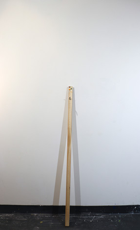 "Mike Marrella. Untitled. Oil on stretcher bar with screw. 3 x 1 ¼ x 48"". 2019."