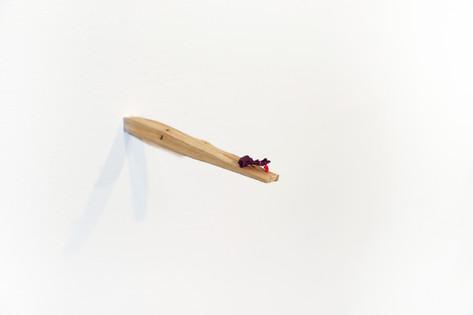 "Mike Marrella. Untitled. Oil (¼ x ¼ x ¾"") on 4"" found stick. 2019."
