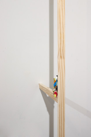 """Mike Marrella. Untitled (detail). Oil, paper and push pin on 2 x 3"""" poplar, on pine cut from stretcher bars. 2019."""