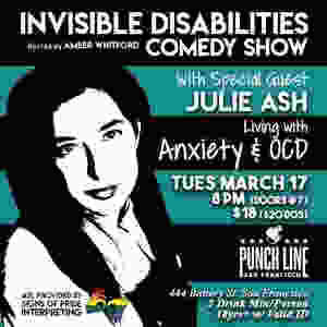 Comedy show poster featuring the text-only logo for Invisible Disabilities Comedy Show, with black and white picture of comedian Jade Theriault in their wheelchair