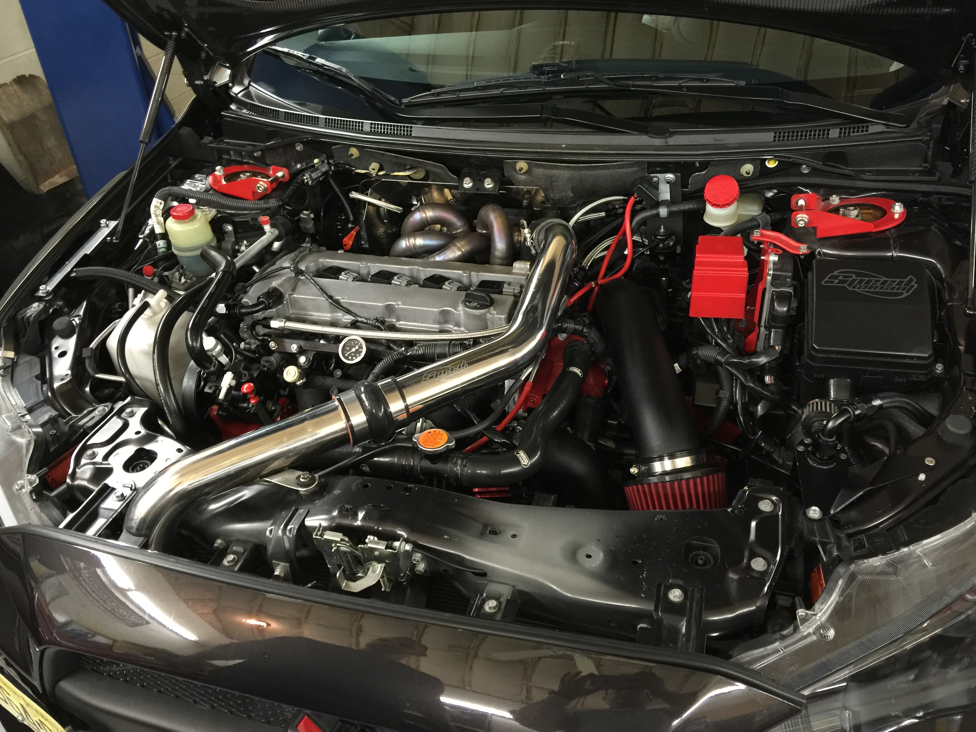 600 horsepower Evo X motor wipe down