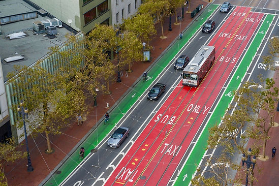 Bus and bike lanes