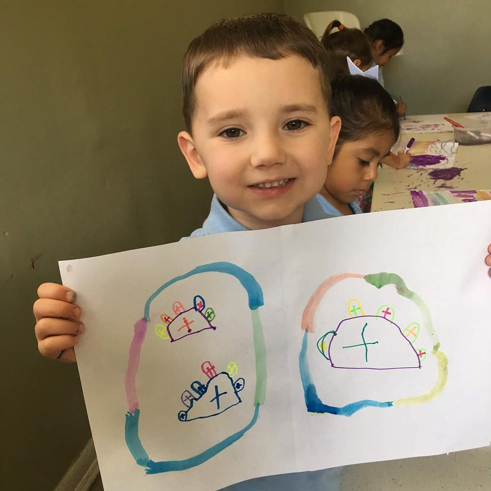 Student with Shabbat art