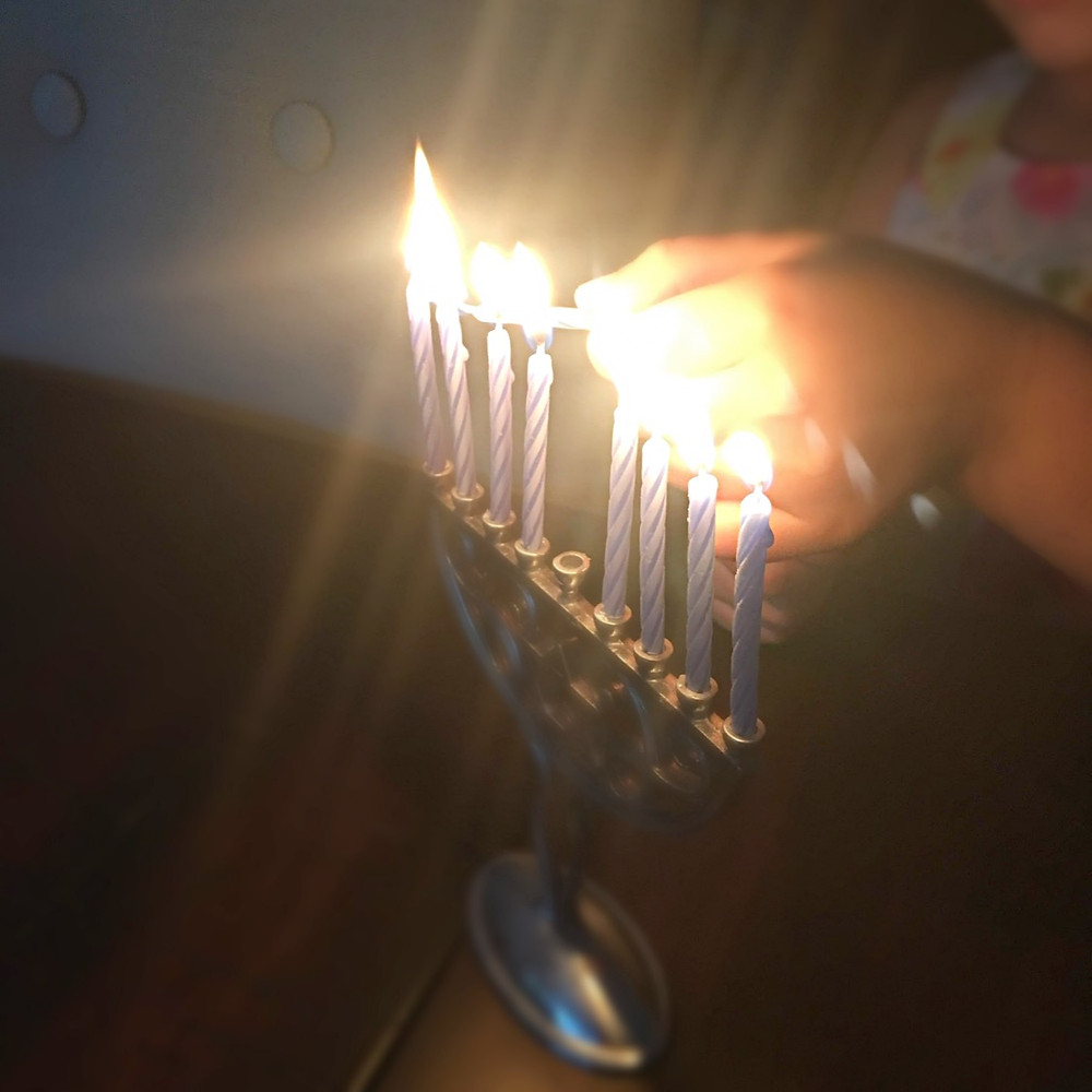 Lighting the candles