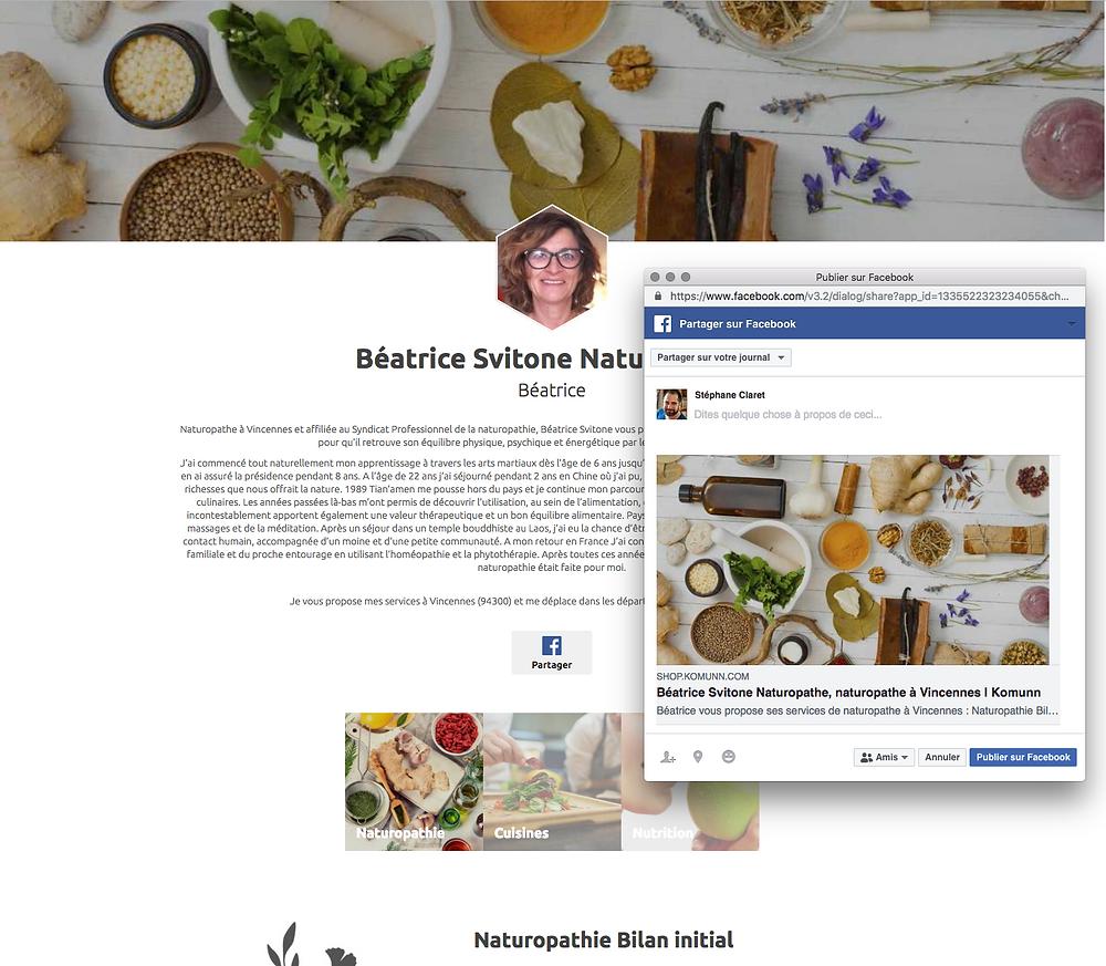 Exemple de partage de l'e-boutique sur Facebook
