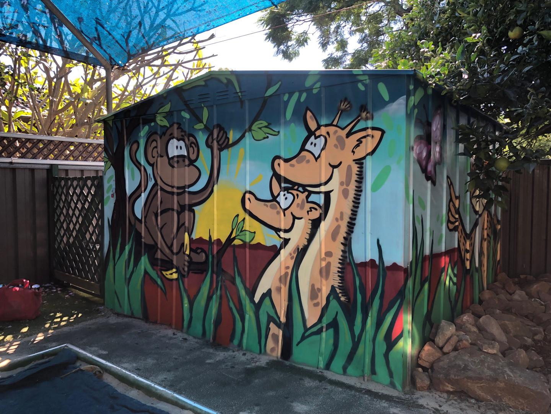 Graffiti, Monkey, Giraffe, Art, Hugo Tees