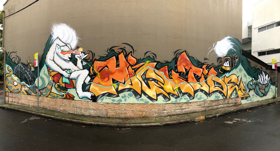 Polar Bear, Graffiti, Street Art Mural, Hugo Tees
